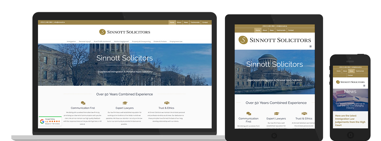 Sinnott Solicitors Web Design preview